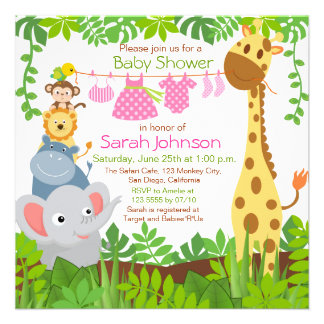 Jungle Animals Safari Girl Baby Shower Invitation Personalized Invitations