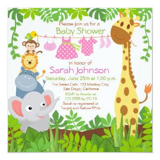 jungle_animals_safari_girl_baby_shower_invitation r64d1a8d8ab89464bafca4fcfeb21b56d_zk9yv_324?rlvnet=1 safari baby shower invitations, 1000 safari baby shower,Girl Jungle Baby Shower Invitations
