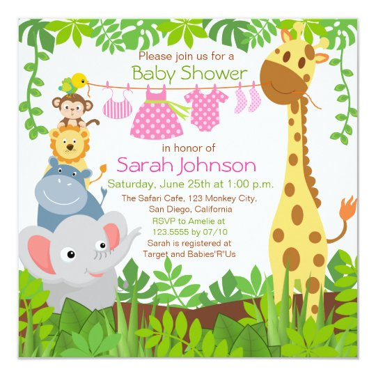 jungle animals baby shower invitations & announcements | zazzle, Baby shower invitations