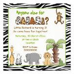 Jungle animals safari kids birthday party personalized invitations