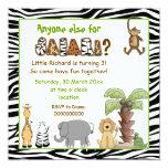 """Jungle animals safari kids birthday party 5.25"""" square invitation card"""