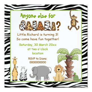 Jungle animals safari kids birthday party personalized invitations