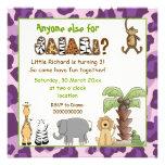 Jungle animals safari kids birthday party personalized invite