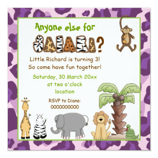 Jungle animals safari kids birthday party personalized invite