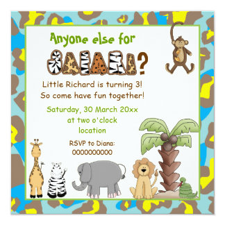 Jungle animals safari kids birthday party personalized announcements