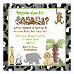 Jungle animals safari kids birthday party personalized announcements