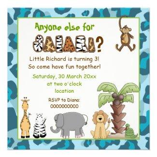 Jungle animals safari kids birthday party personalized invites