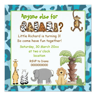 Jungle animals safari kids birthday party personalized invites