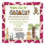 Jungle animals safari kids birthday party personalized invitation
