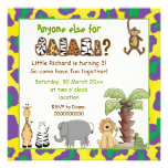 Jungle animals safari kids birthday party invitation