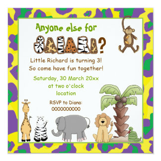 Jungle animals safari kids birthday party invitation