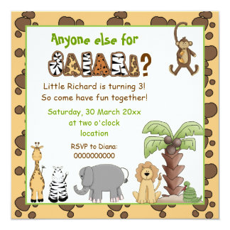 Jungle animals safari kids birthday party custom announcements