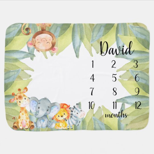 Jungle Animals Safari Monthly Milestone Baby Blanket