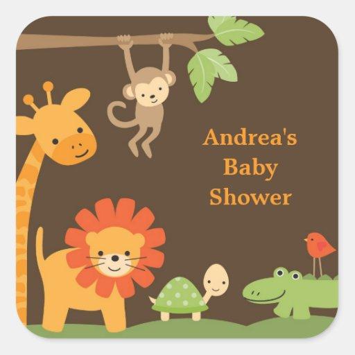 Jungle Animals Stickers Square Sticker