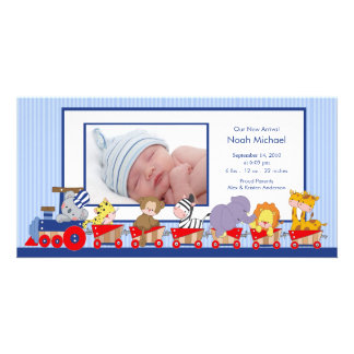 Jungle Animals Train Baby Boy Birth Annoucement Card