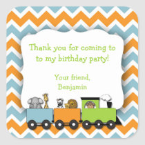Jungle Animals Train Birthday Party Favor Sticker