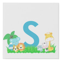 Jungle Animals With Blue Initial Faux Canvas Print