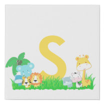 Jungle Animals With Yellow Initial Faux Canvas Print