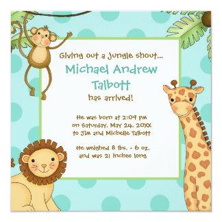 Jungle Babies Aqua Blue - Birth Announcement