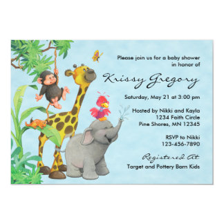 Jungle Babies Baby Shower Invitations │ Blue