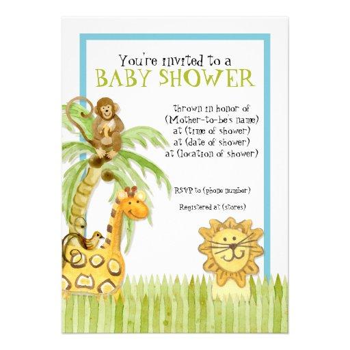 jungle babies boy baby shower invitation blue 5 x 7 invitation