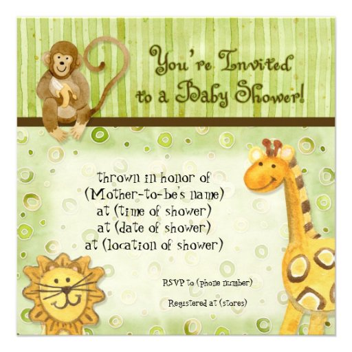 jungle babies boy baby shower invitation green square