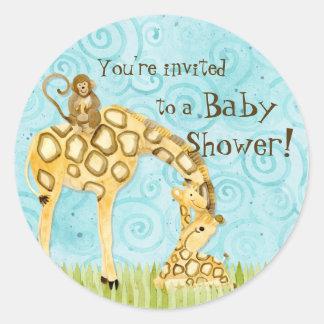 Jungle Babies, Boy Baby Shower Stickers - Blue