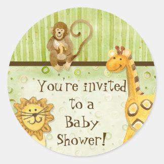 Jungle Babies, Boy Baby Shower Stickers - Green