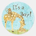 Jungle Babies, Boy Baby Stickers - Blue