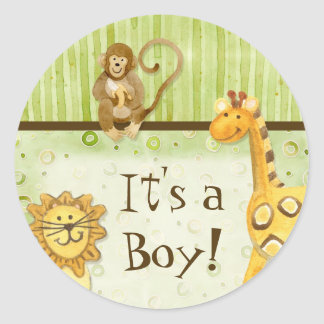 Jungle Babies, Boy Baby Stickers - Green