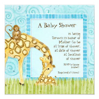 Jungle Babies, Giraffe Baby Shower Invitation