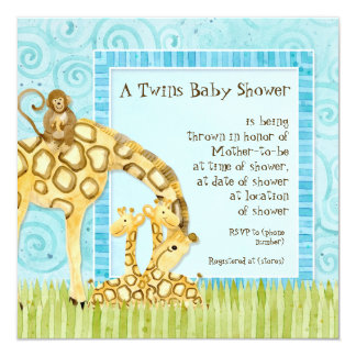 Jungle Babies Giraffe Baby Twins Shower Invitation