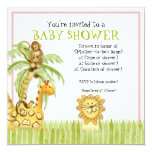"Jungle Babies, Girl Baby Shower Invitation - Green 5.25"" Square Invitation Card"