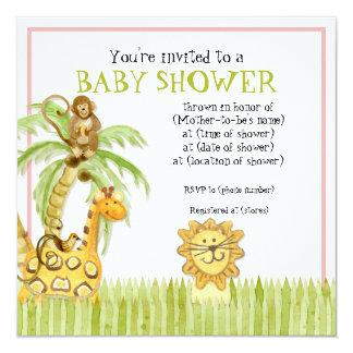 Jungle Babies, Girl Baby Shower Invitation - Green