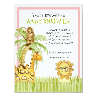 Jungle Babies, Girl Baby Shower Invitation - Green