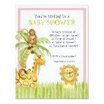 "Jungle Babies, Girl Baby Shower Invitation - Green 4.25"" X 5.5"" Invitation Card"