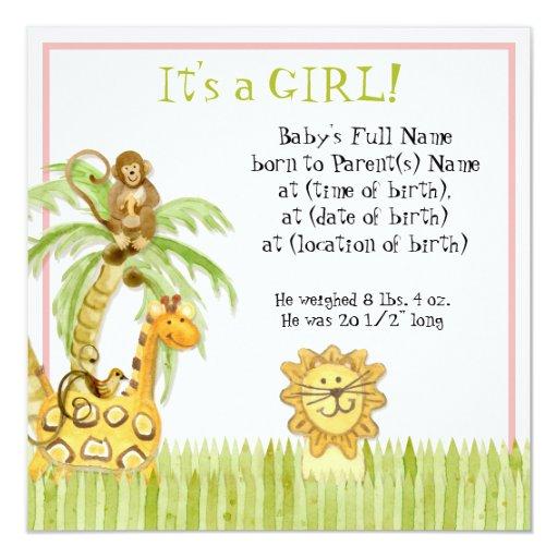 """Jungle Babies, Girl Birth Announcement 5.25"""" Square Invitation Card"""