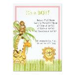 "Jungle Babies, Girl Birth Announcement 5"" X 7"" Invitation Card"