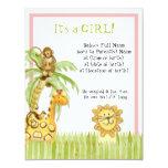 "Jungle Babies, Girl Birth Announcement 4.25"" X 5.5"" Invitation Card"
