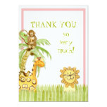 Jungle Babies, Girl Thank You Notes 5x7 Paper Invitation Card