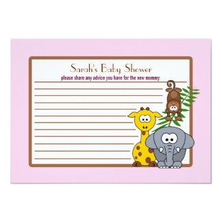 "Jungle Babies Pink Baby Shower Advice Card 4.5"" X 6.25"" Invitation Card"
