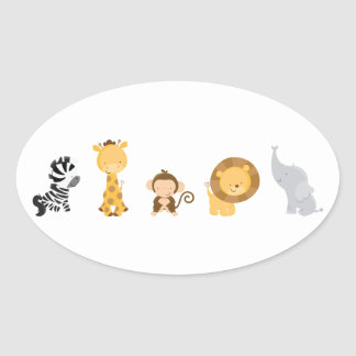 Jungle Babies Oval Stickers