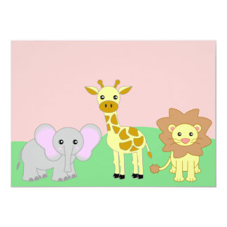 Jungle Baby Animals 5x7 Baby Shower Invitations