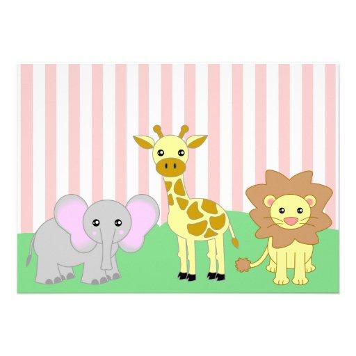 Pink Safari Baby Shower Invitations as luxury invitations design