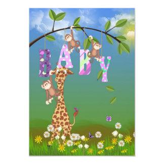Jungle Baby Girl Shower Card