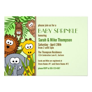 Jungle Baby Green Baby Sprinkle Invitations