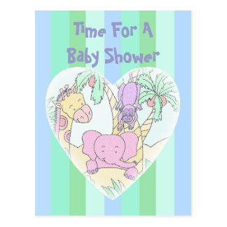 Jungle Baby Heart 2- Baby Shower Invitation Postcard