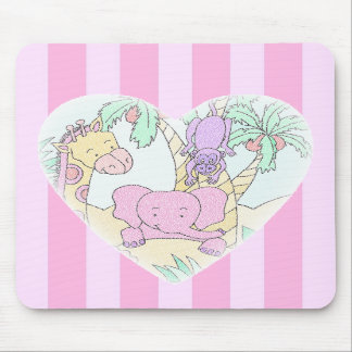 Jungle Baby Heart 2 mousepad -with pink stripes