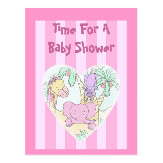 Jungle Baby Heart 2-pink-Baby Shower Invitation Postcard