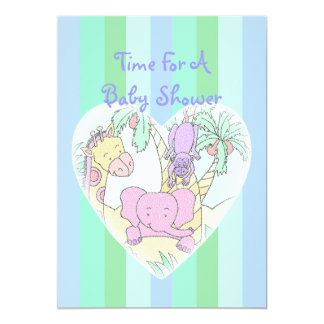 Jungle Baby Heart Blessings boy 5x7 Paper Invitation Card